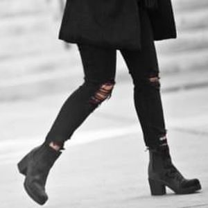 NEW Velvet Blue Square Toe Rugged Fashion Boot